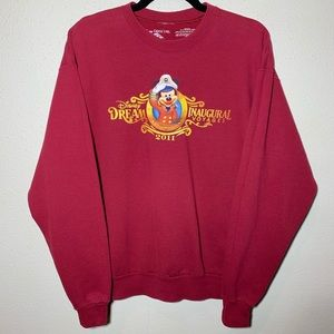 DISNEY Mens Medium Maroon Crewneck